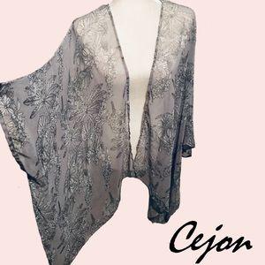 Cejon Silver White Sheer Floral Print Swim CoverUp